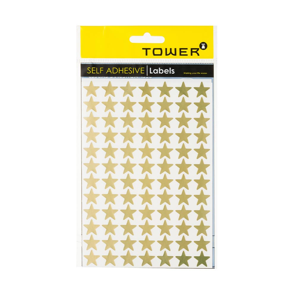 TOWER Gold Stars Self Adhesive Labels